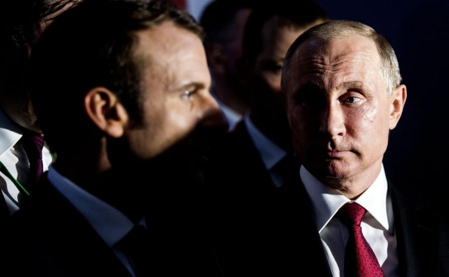 Emmanuel Macron i Władimir Putin