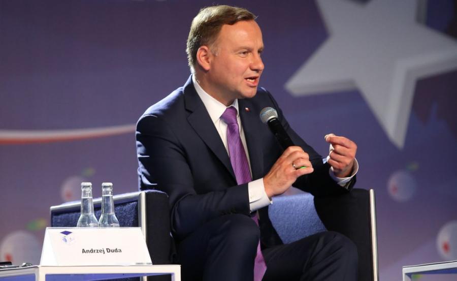 Prezydent RP Andrzej Duda podczas panelu \