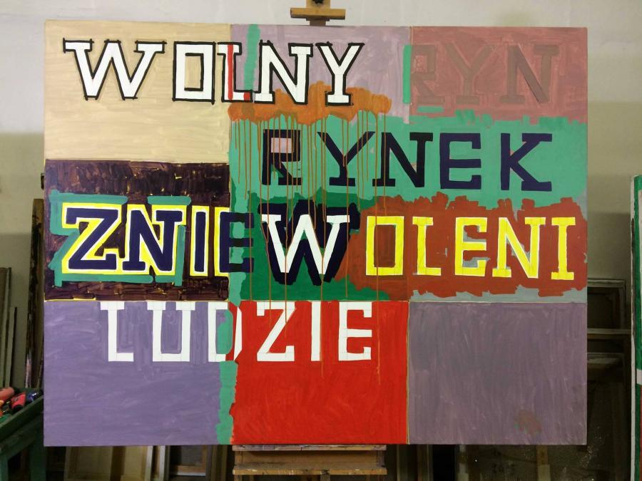 Ryszard Grzyb, Wolny rynek zniewoleni ludzie, 2004, akryl, płótno, 140 x 180 cm