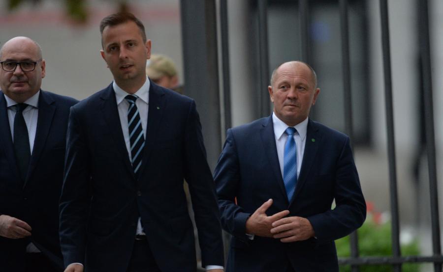 Władysław Kosiniak-Kamysz, wiceprzewodniczący PSL, poseł Marek Sawicki oraz poseł Piotr Zgorzelski
