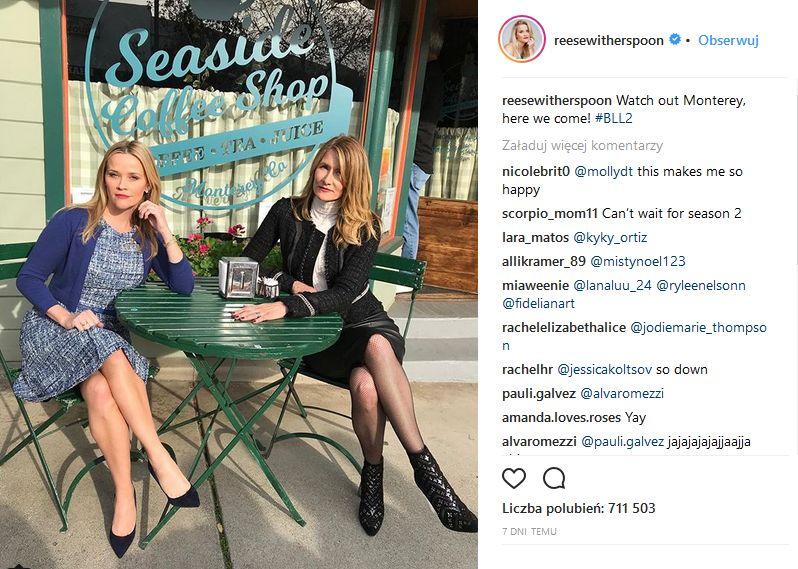 Reese Witherspoon i Laura Dern na planie Wielkich Kłamstewek 2