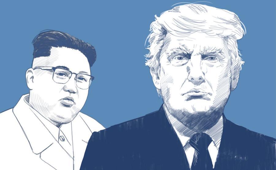 Kim Dzong Un i Donald Trump - ilustracja