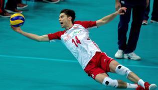 Aleksander Śliwka podczas meczu pierwszego turnieju Ligi Narodów siatkarzy w katowickim Spodku z Koreą Płd.