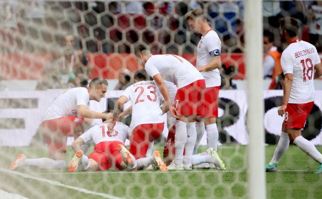 Piłkarze reprezentacji Polski cieszą się z gola Jakuba Błaszczykowskiego