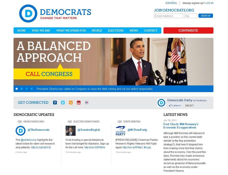 Strona internetowa amerykańskiej Partii Demokratycznej
