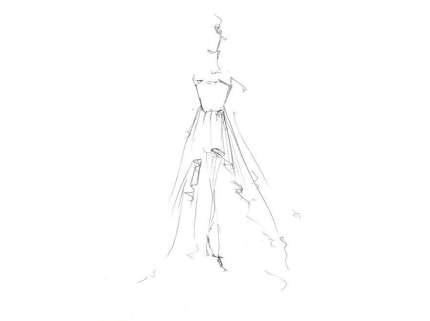 Oto szkic sukni ślubnej zaprojektowanej przez duet BOHOBOCO specjalnie dla Pauliny Sykut.