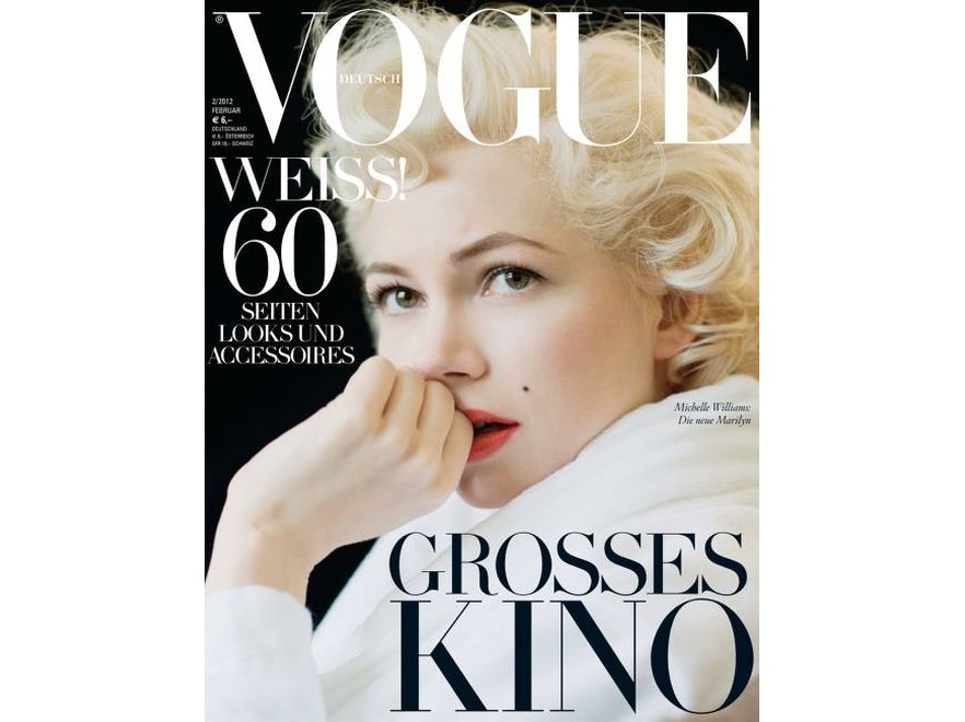 """Michelle Williams jako Marilyn Monroe na okładce niemieckiej edycji """"Vogue"""". Źródło: Vogue Deutch"""