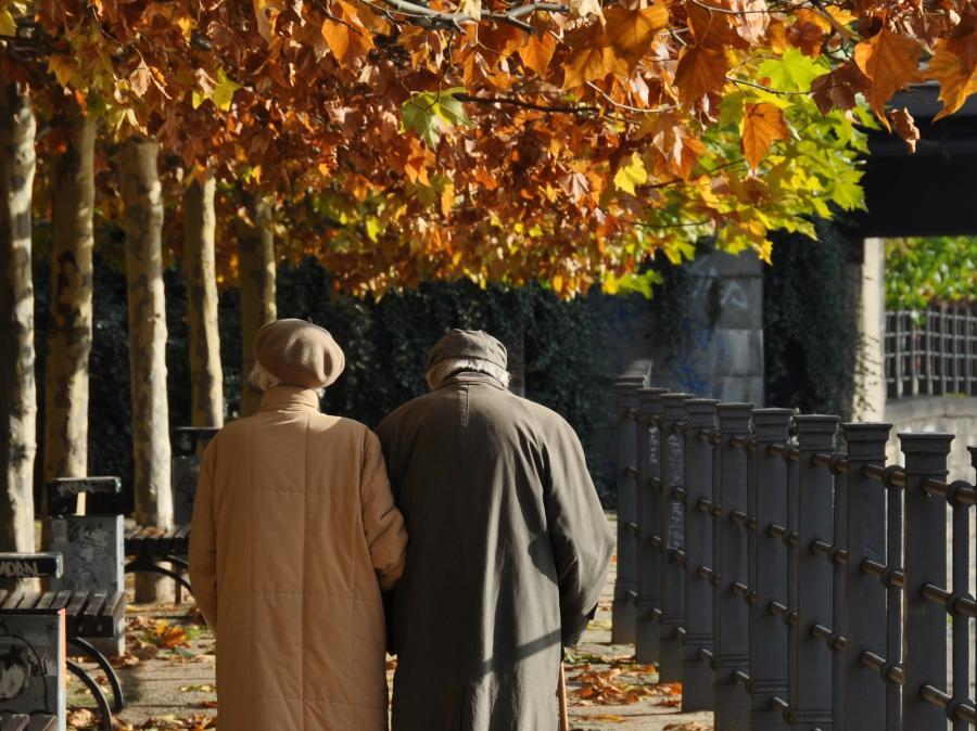 Para starszych osób (emerytów) w parku
