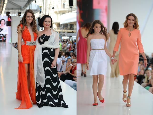 Jolanta Fajkowska i Maria Niklińska oraz Hanna Lis z córką na Warsaw Fashion Street 2012