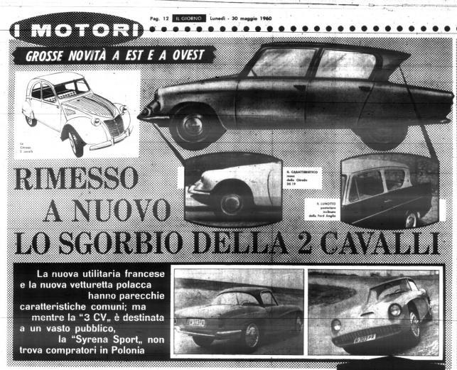 """Zdjęcie włoskiego dziennika """"Il Giorno"""" zawierającego artykuł o syrenie sport"""