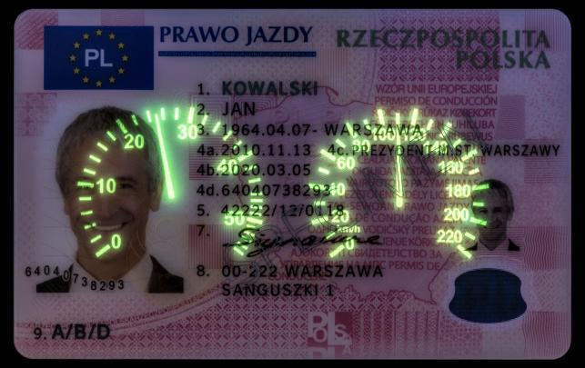 Awers dokumentu prawa jazdy