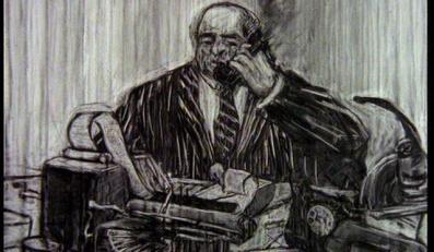 William Kentridge, Historia skargi głównej, 1996, kadr z wideo, trójkanałowe wideo 5'47'', Dzięki uprzejmości Collezione Sandretto Re Rebaudengo