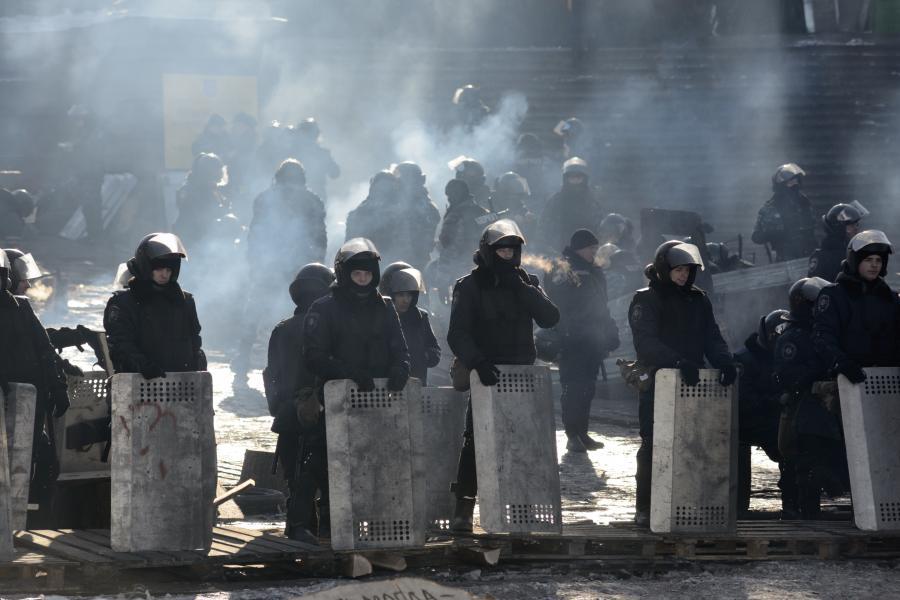 Ukraińscy milicjanci w Kijowie