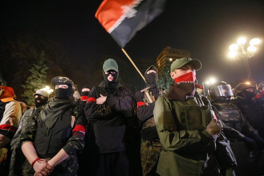 Demonstracja Prawego Sektora przed ukraińskim parlamentem