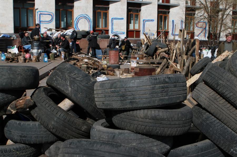 Prorosyjska barykada w Doniecku