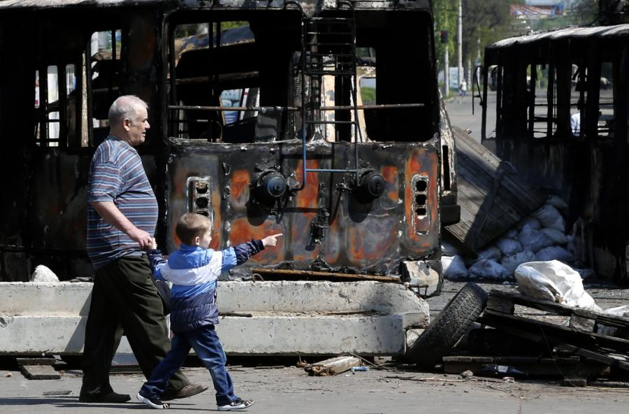 Spalony autobus w Kramatorsku