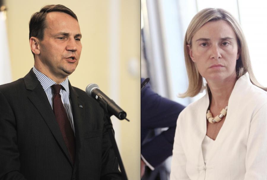 Radosław Sikorski (źródło: Newspix) / Federica Mogherini (źródło: PAP/EPA)