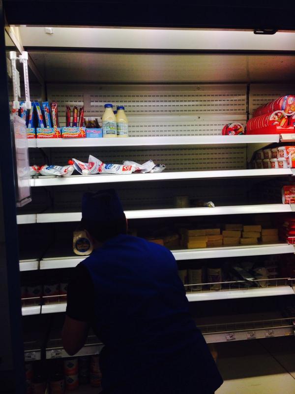 Puste półki w rosyjskich sklepach