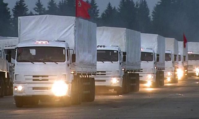 Wojskowe kamazy przemalowane na biało? Konwój humanitarny z Rosji na Ukrainę