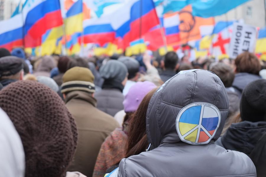Demonstracja przeciwko wojnie na Ukrainie. Moskwa, 15 marca 2014 roku