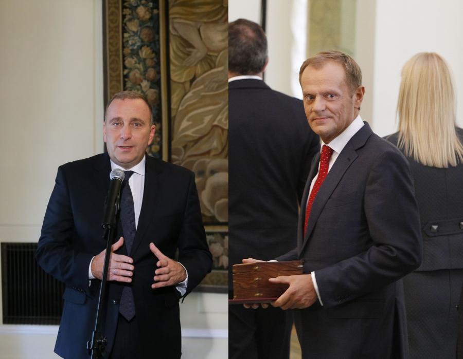 Grzegorz Schetyna (fot. Paweł Supernak/PAP) i Donald Tusk (fot. Czarek Sokolowski/AP)