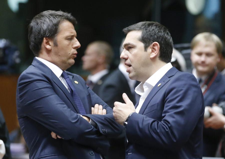 Włoski premier Matteo Renzi i premier Grecji Alexis Tsipras