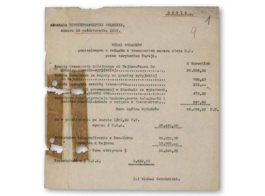 Wykaz wydatków na transport złota przez terytorium Turcji, wrzesień 1939 r. (zasoby Archiwum Akt Nowych)
