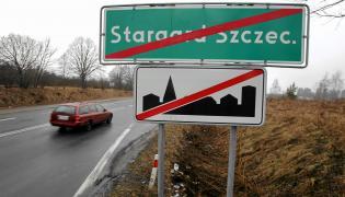 Stargard Szczeciński - tablica przy wyjeździe z miasta
