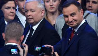 Beata Szydło, Jarosław Kaczyński i Andrzej Duda na konwencji PiS