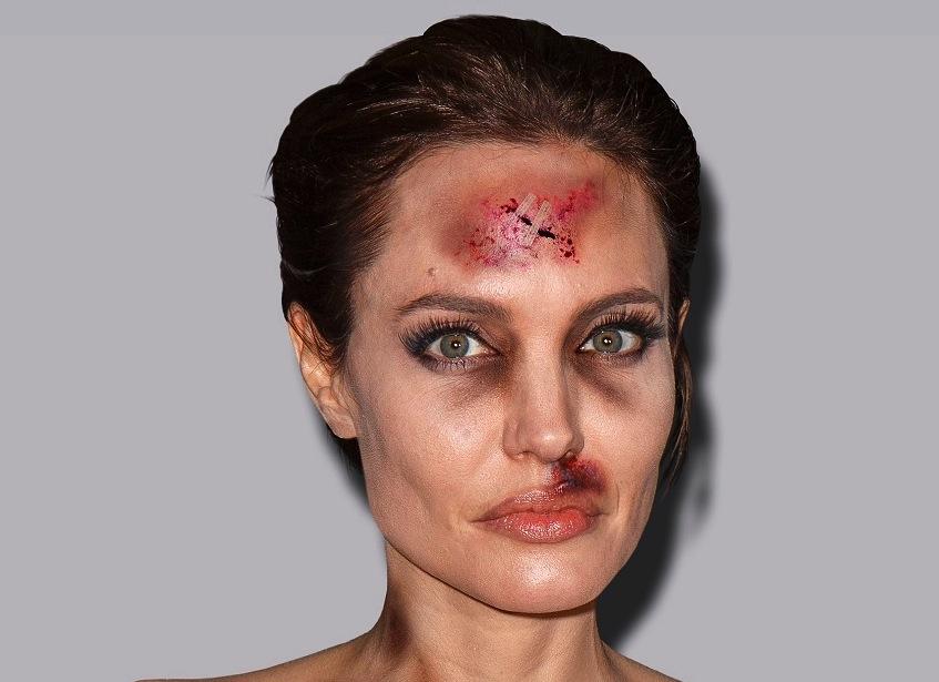Angelina Jolie jako ofiara przemocy domowej