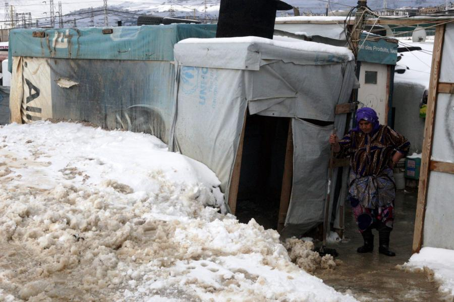 Obóz uchodźców z Syrii na terenach Libanu