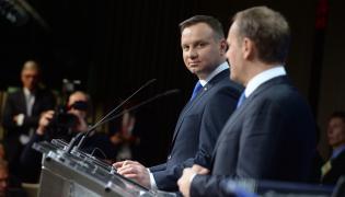 Prezydent Andrzej Duda i szef Rady Europejskiej Donald Tusk na konferencji prasowej po spotkaniu w Brukseli