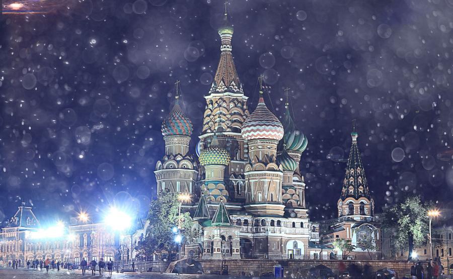 Moskwa. Plac Czerwony w zimie