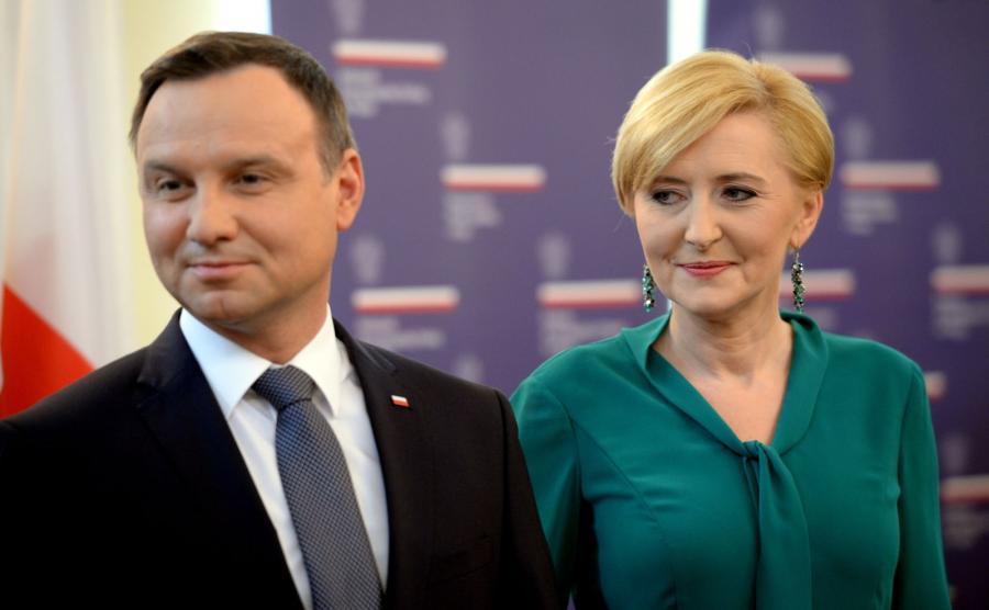 Prezydent Andrzej Duda z żoną Agatą Kornhauser-Dudą w ambasadzie RP w Pradze