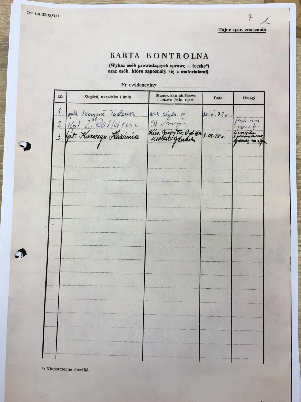 Dokumenty z teczki agenta TW \