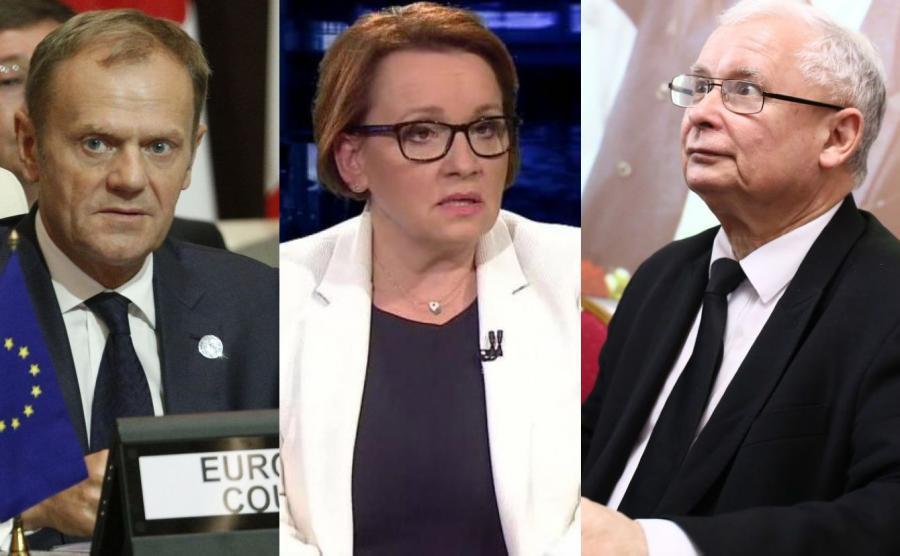 Donald Tusk, Anna Zalewska i Jarosław Kaczyński