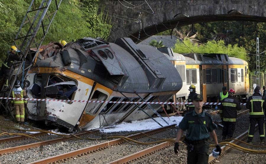 Wypadek pociągu w Hiszpanii
