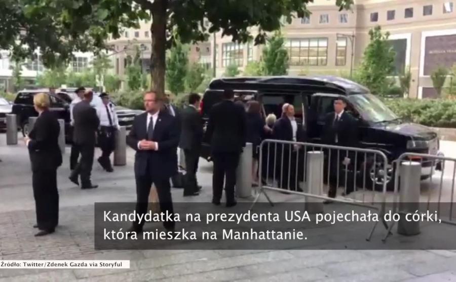 Hillary Clinton opuszcza uroczystości ku czci ofiar zamachów na WTC z 2001 roku