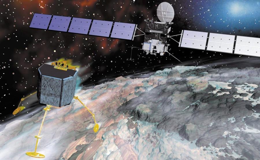 Symulacja lądowania sondy Rosetta na komecie