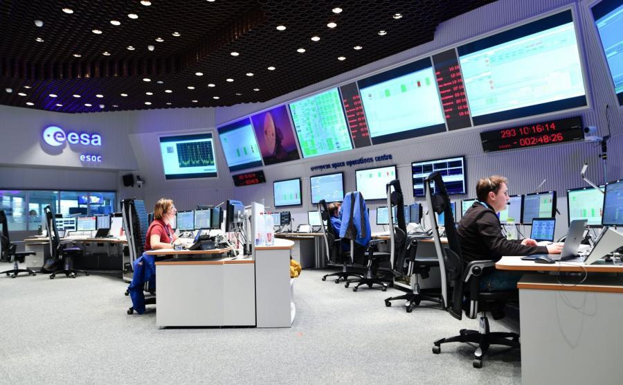 Centrum kontroli lotów w Europejskiej Agencji Kosmicznej (ESA) w Darmstadt