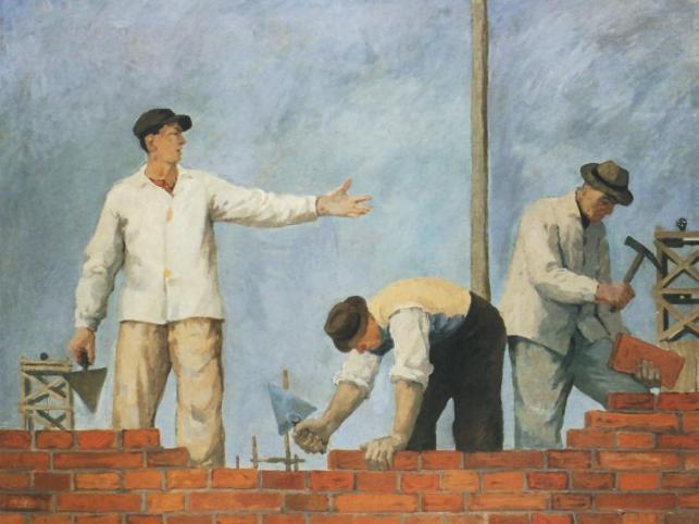 """Aleksander Kobzdej, """"Podaj cegłę"""" 1950"""