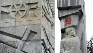 Pomnik w Olsztynie z pomalowanym sierpem i młotem